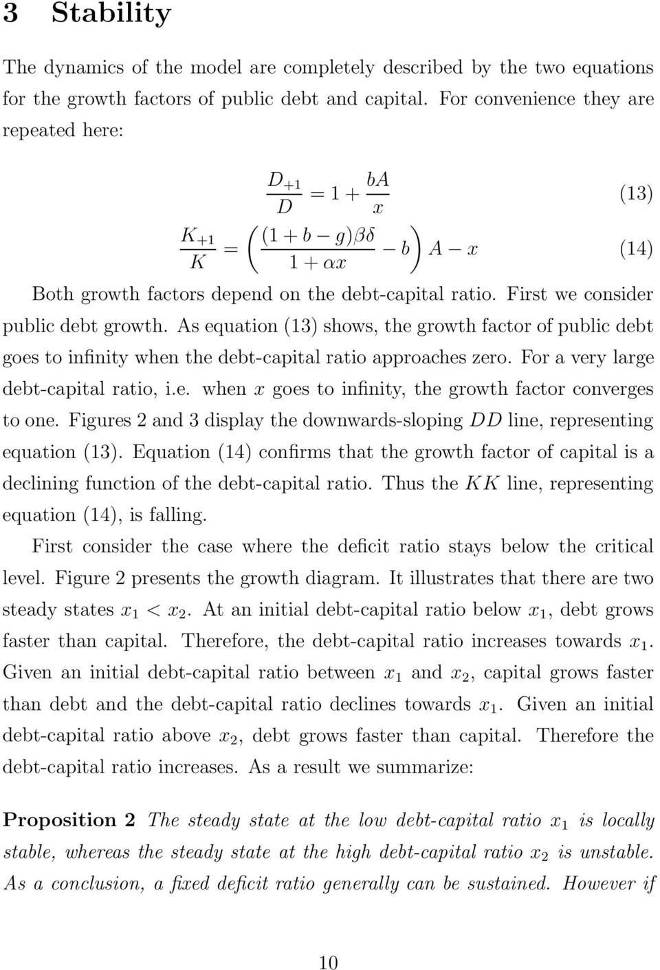 As equation (13) shows, the growth factor of public debt goes to infinity when the debt-capital ratio approaches zero. For a very large debt-capital ratio, i.e. when x goes to infinity, the growth factor converges to one.
