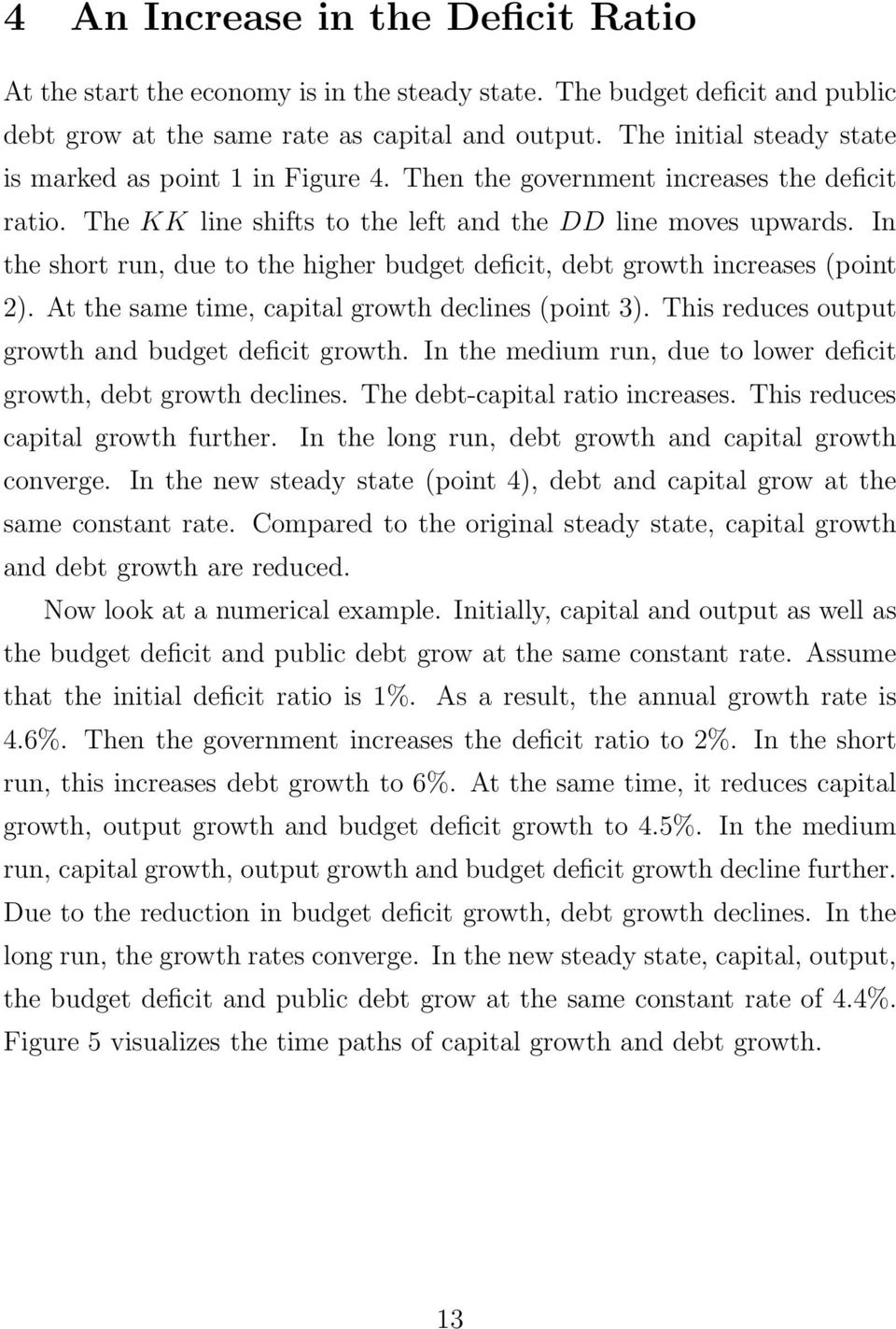 In the short run, due to the higher budget deficit, debt growth increases (point 2). At the same time, capital growth declines (point 3). This reduces output growth and budget deficit growth.