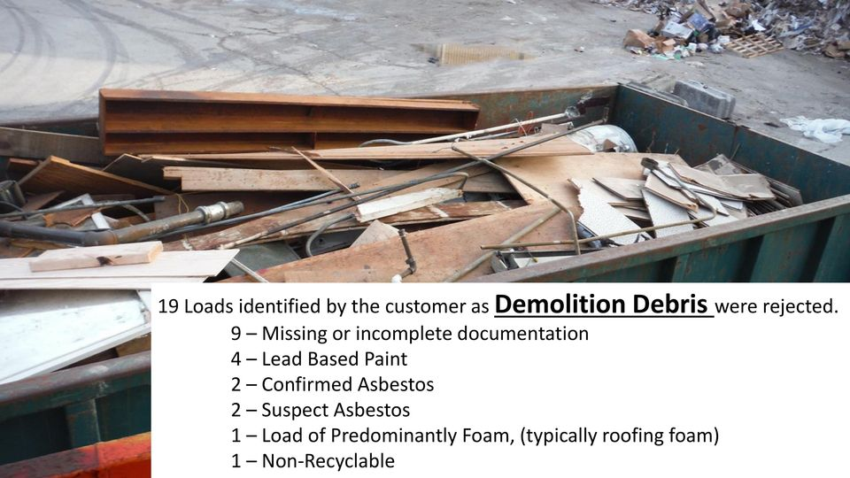 9 Missing or incomplete documentation 4 Lead Based Paint 2