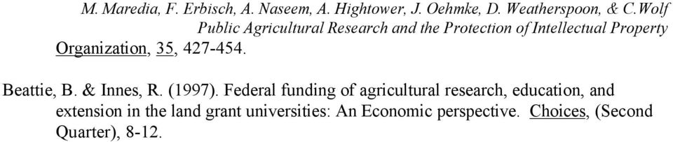 Federal funding of agricultural research, education,
