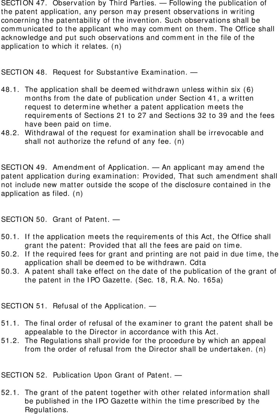 (n) SECTION 48. Request for Substantive Examination. 48.1.