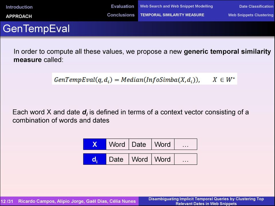 generic temporal similarity measure called: Each word X and date d i is defined in terms of a