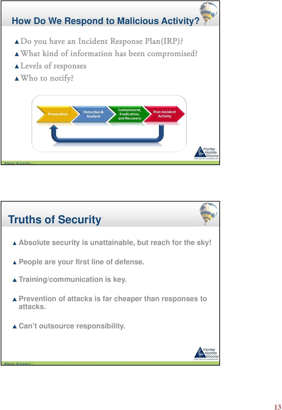 Truths of Security Absolute security is unattainable, but reach for the sky!