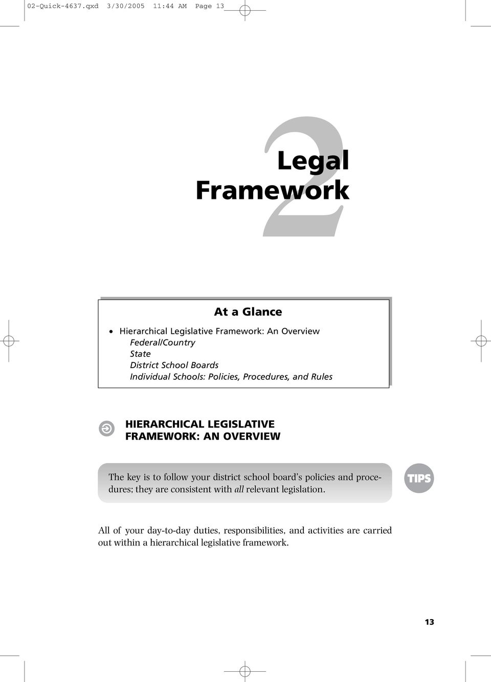 District School Boards Individual Schools: Policies, Procedures, and Rules HIERARCHICAL LEGISLATIVE FRAMEWORK: AN OVERVIEW The