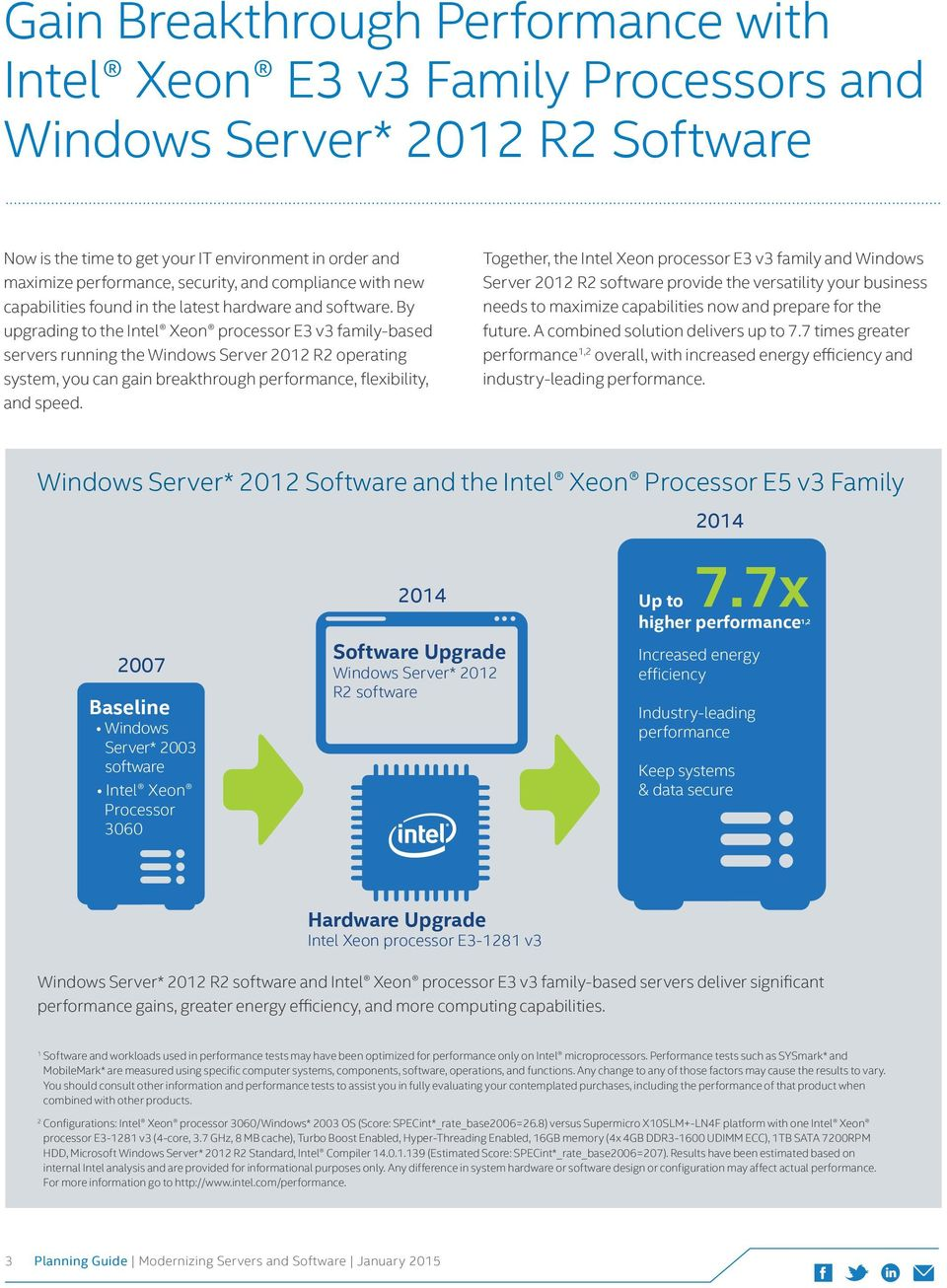By upgrading to the Intel Xeon processor E3 v3 family-based servers running the Windows Server 2012 R2 operating system, you can gain breakthrough performance, flexibility, and speed.