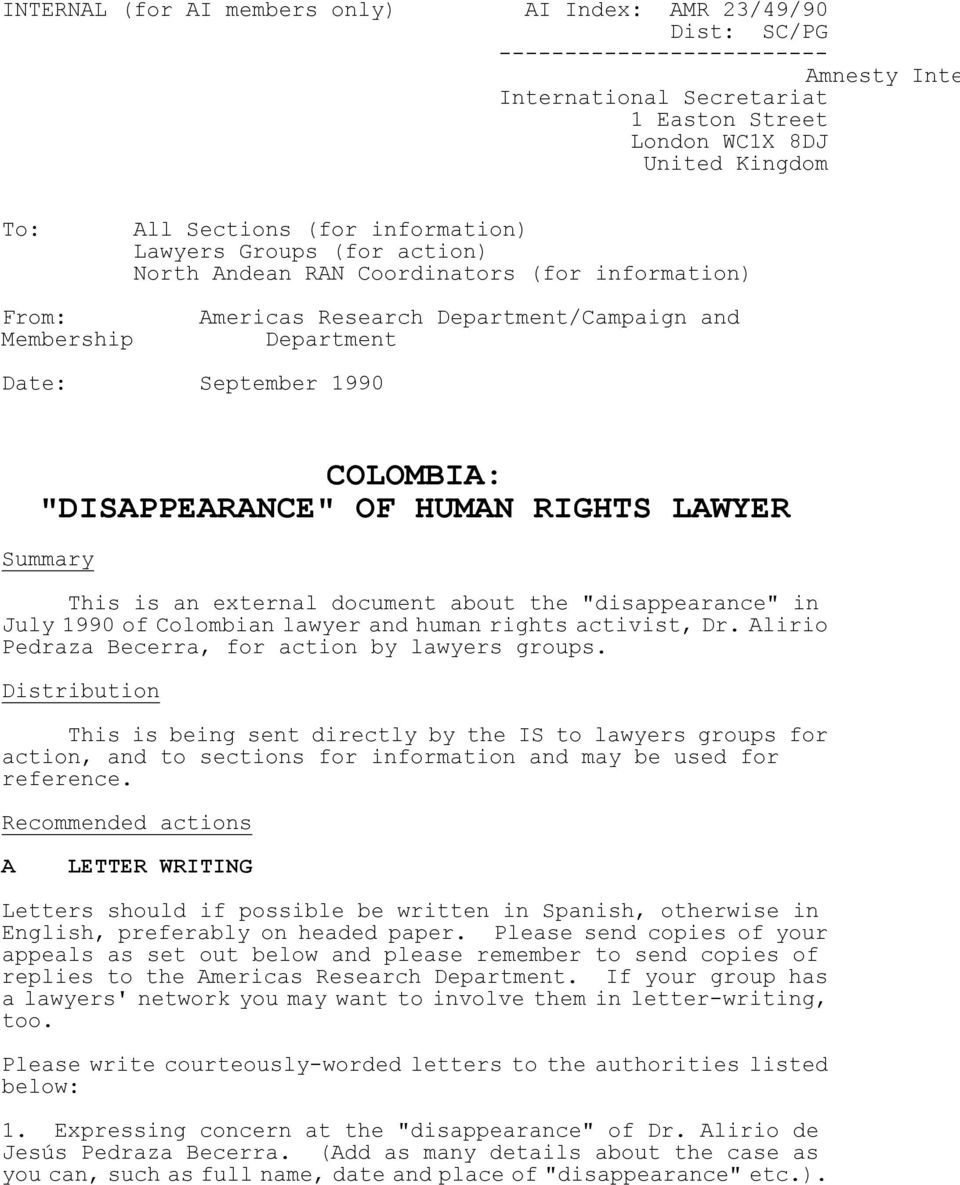 "OF HUMAN RIGHTS LAWYER Summary This is an external document about the ""disappearance"" in July 1990 of Colombian lawyer and human rights activist, Dr."
