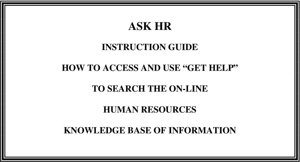 SEARCH THE ON-LINE HUMAN