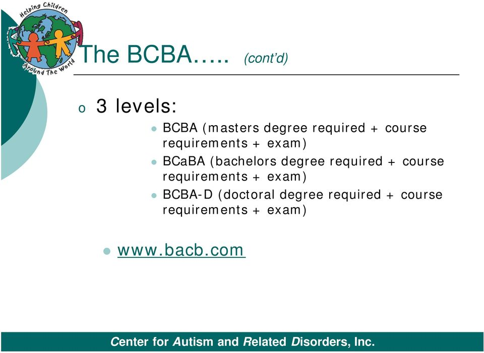 course requirements + exam) BCaBA (bachelors degree