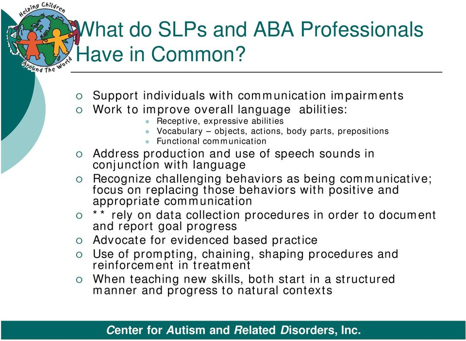 Functional communication Address production and use of speech sounds in conjunction with language Recognize challenging behaviors as being communicative; focus on replacing those behaviors
