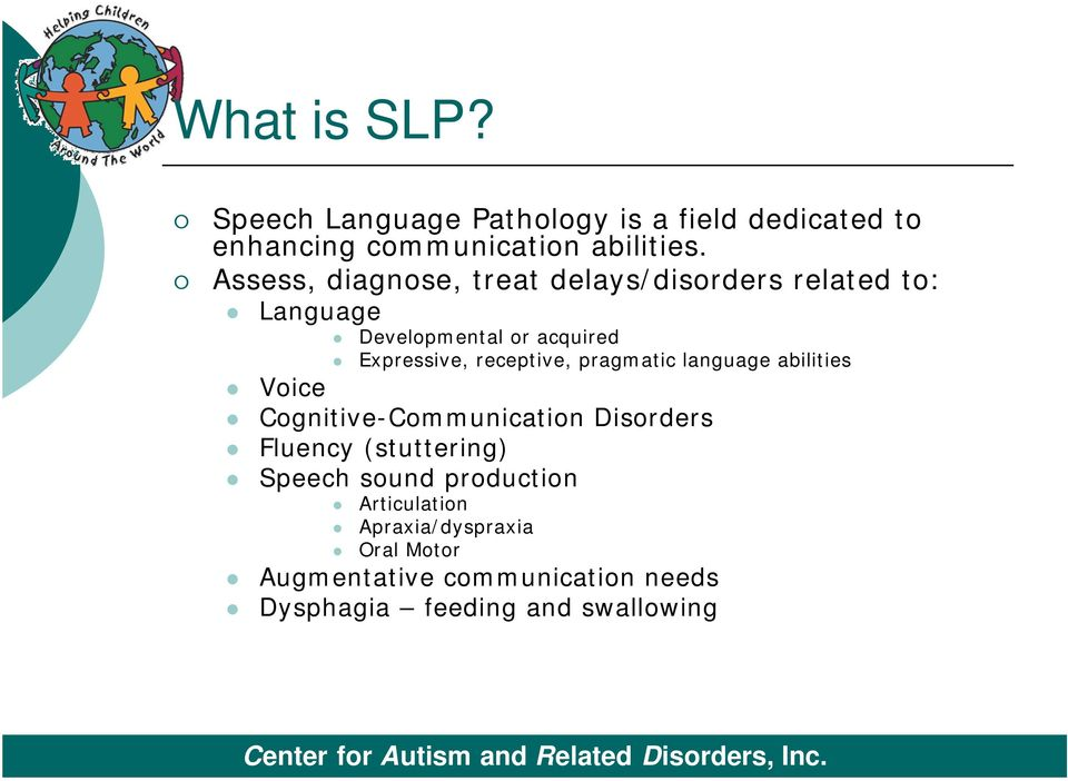 receptive, pragmatic language abilities Voice Cognitive-Communication Disorders Fluency (stuttering) Speech