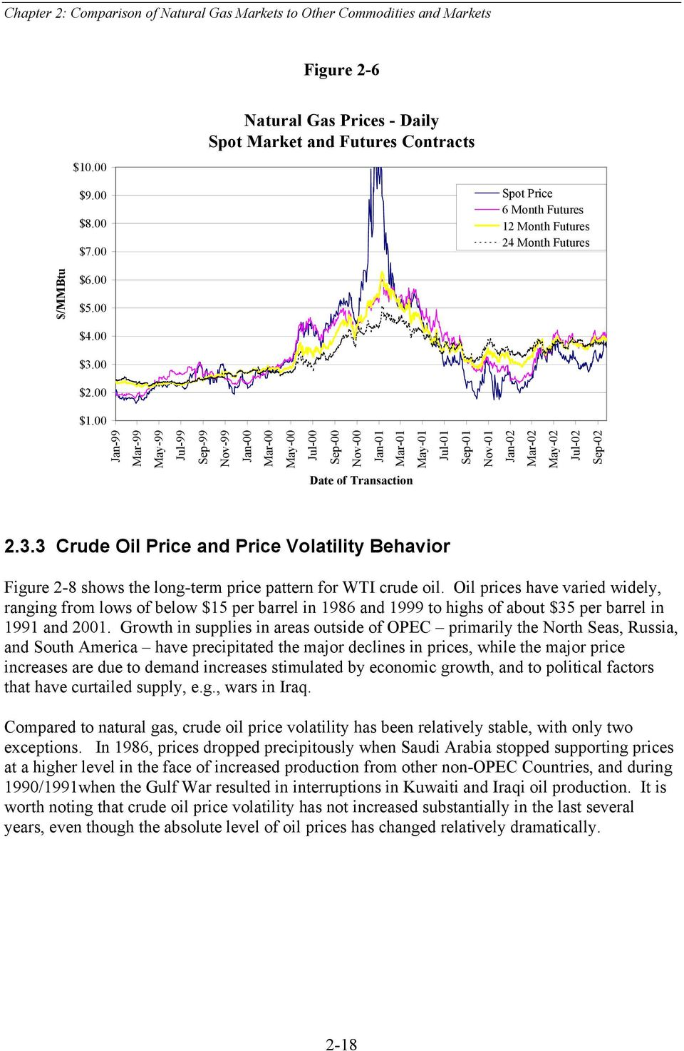3 Crude Oil Price and Price Volatility Behavior Figure 2-8 shows the long-term price pattern for WTI crude oil.