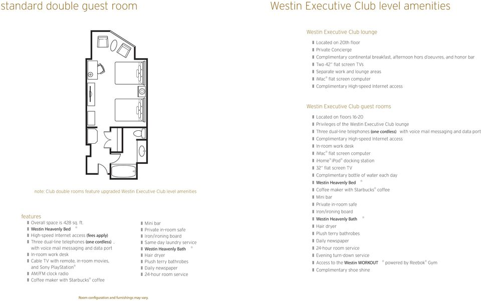 Executive Club level amenities Overall space is 428 sq. ft.