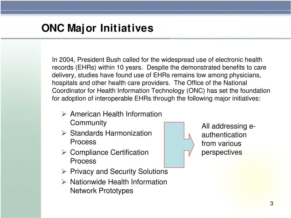 The Office of the National Coordinator for Health Information Technology (ONC) has set the foundation for adoption of interoperable EHRs through the following major