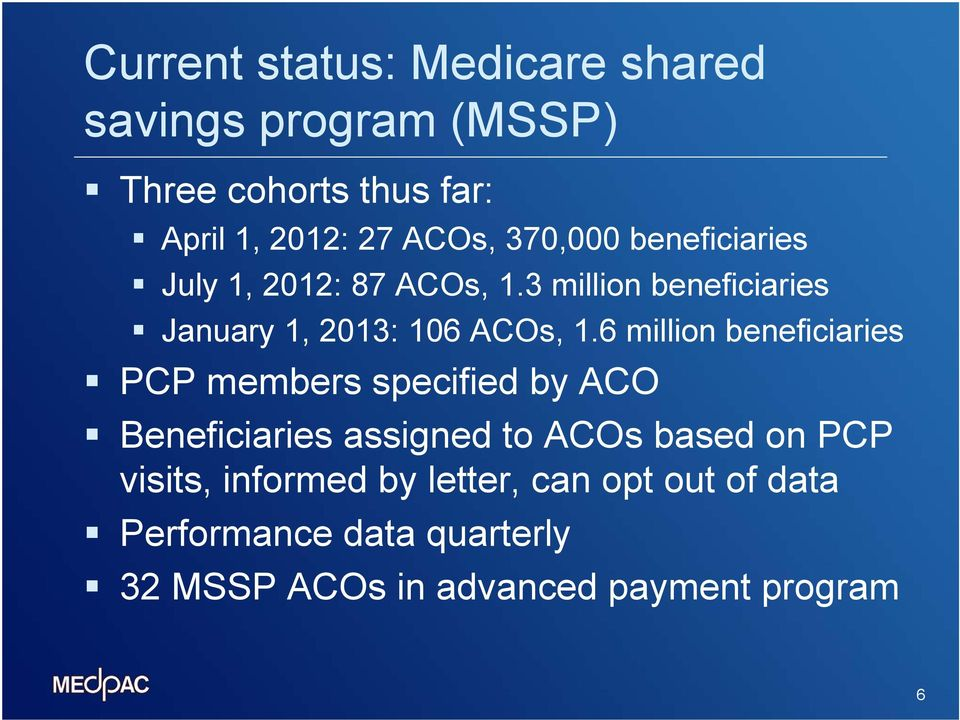6 million beneficiaries PCP members specified by ACO Beneficiaries assigned to ACOs based on PCP visits,