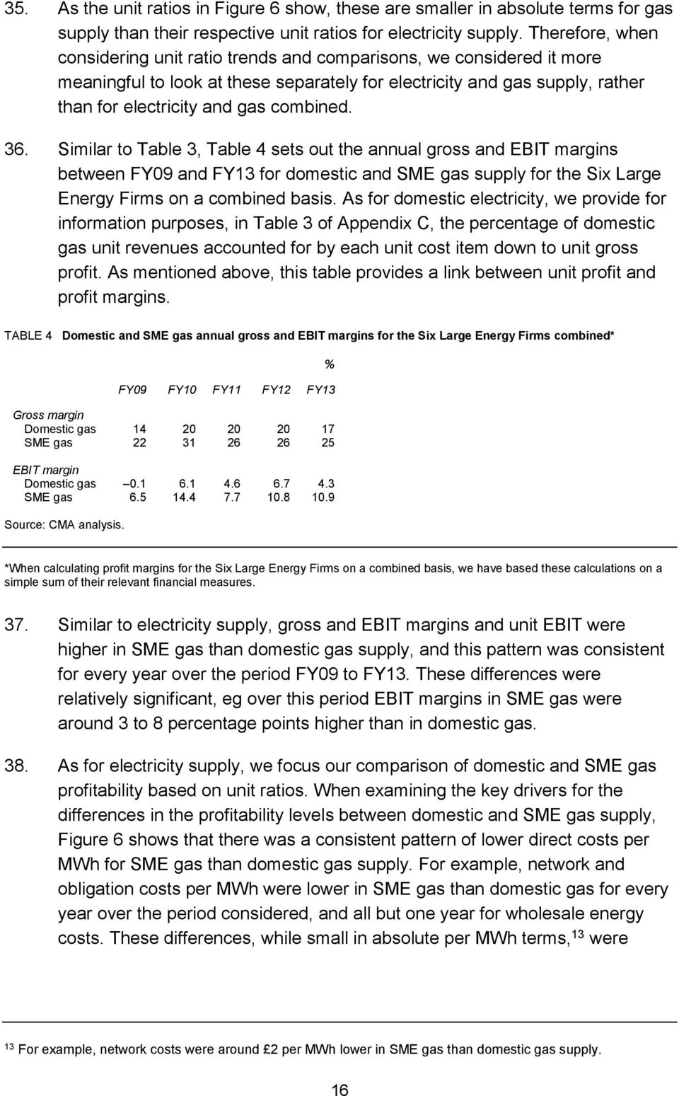 combined. 36. Similar to Table 3, Table 4 sets out the annual gross and EBIT margins between FY09 and FY13 for domestic and SME gas supply for the Six Large Energy Firms on a combined basis.