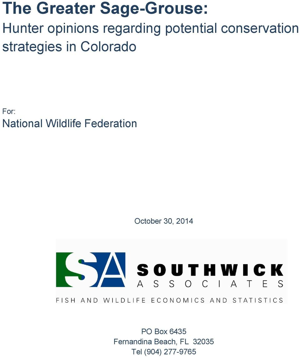 National Wildlife Federation October 30, 2014 PO