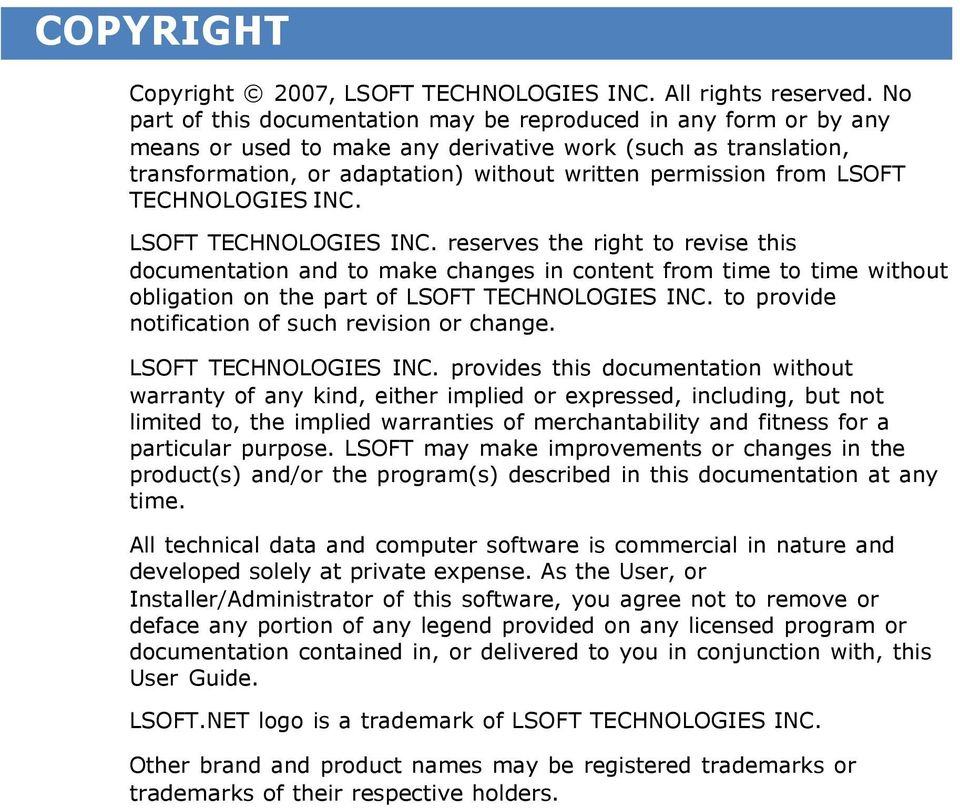 LSOFT TECHNOLOGIES INC. LSOFT TECHNOLOGIES INC.