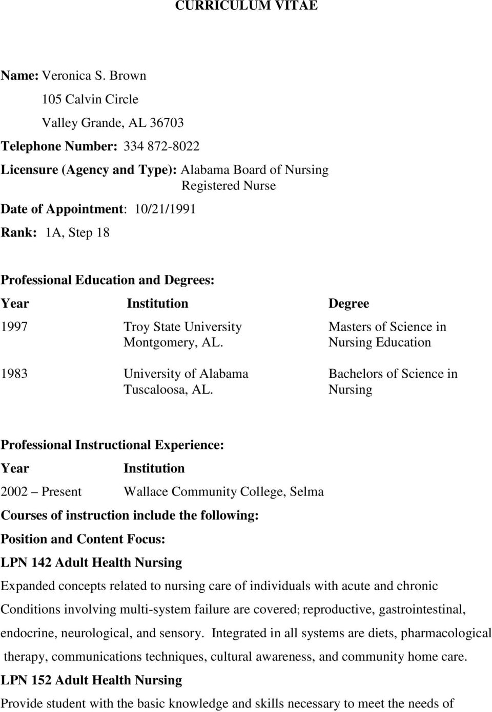 Professional Education and Degrees: Year Institution Degree 1997 Troy State University Masters of Science in Montgomery, AL.
