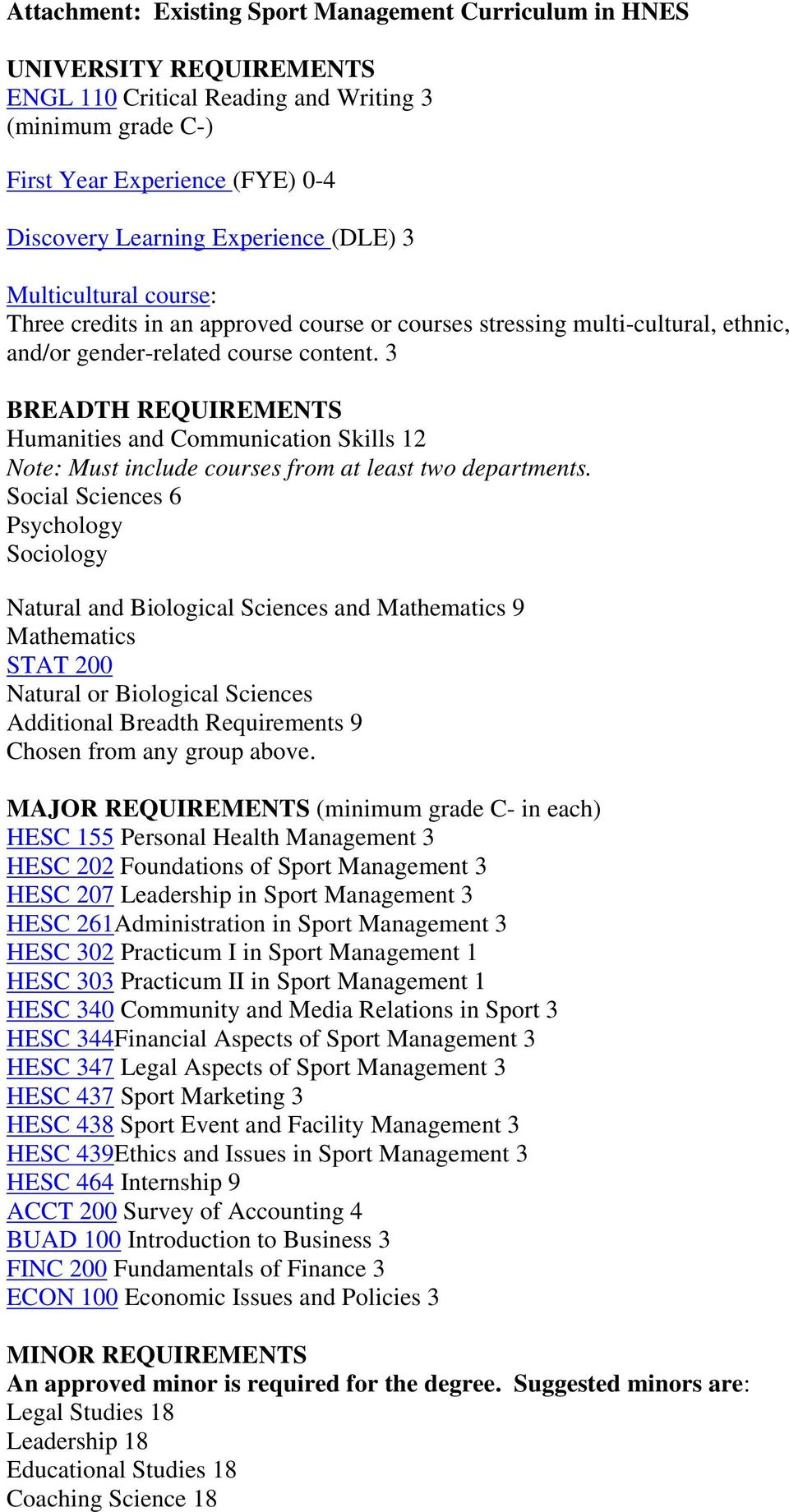 3 BREADTH REQUIREMENTS Humanities and Communication Skills 12 Note: Must include courses from at least two departments.