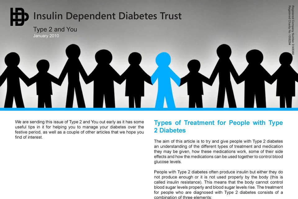Types of Treatment for People with Type 2 Diabetes The aim of this article is to try and give people with Type 2 diabetes an understanding of the different types of treatment and medication they may
