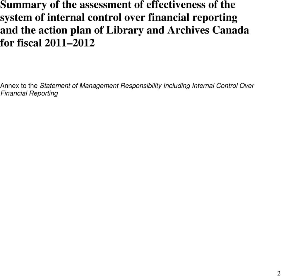 Archives Canada for fiscal 2011 2012 Annex to the Statement of