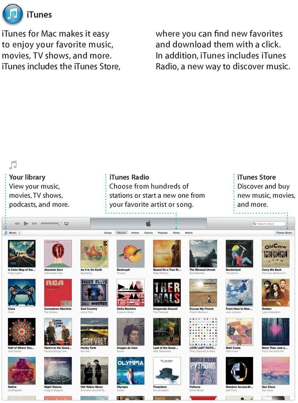 In addition, itunes includes itunes Radio, a new way to discover music.