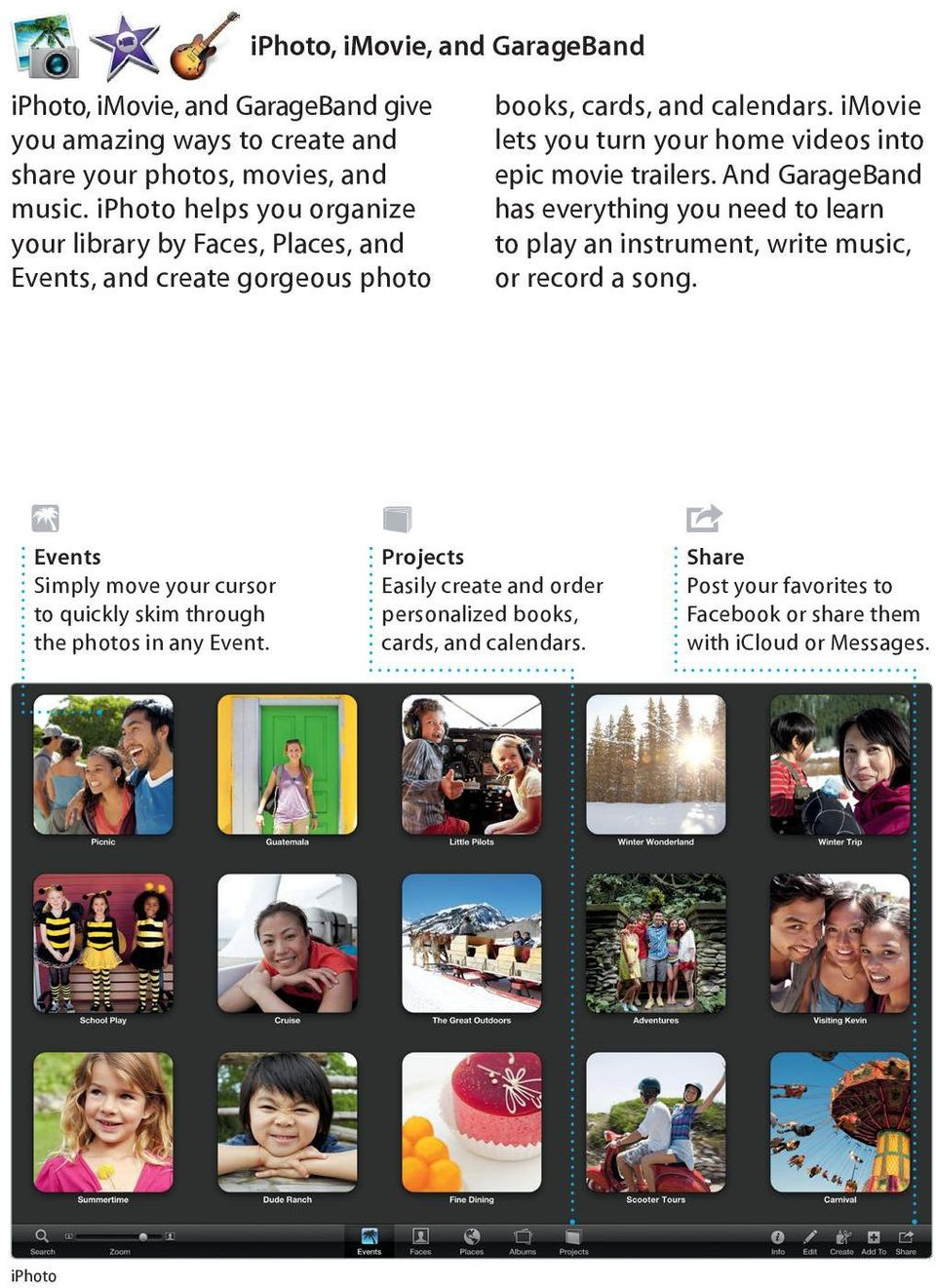 any Event. iphoto books, cards, and calendars. imovie lets you turn your home videos into epic movie trailers.