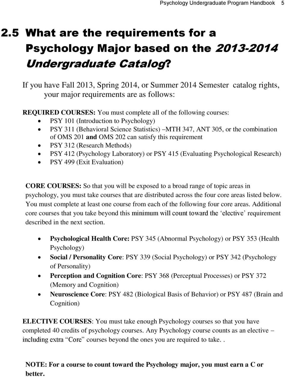 (Introduction to Psychology) PSY 311 (Behavioral Science Statistics) MTH 347, ANT 305, or the combination of OMS 201 and OMS 202 can satisfy this requirement PSY 312 (Research Methods) PSY 412