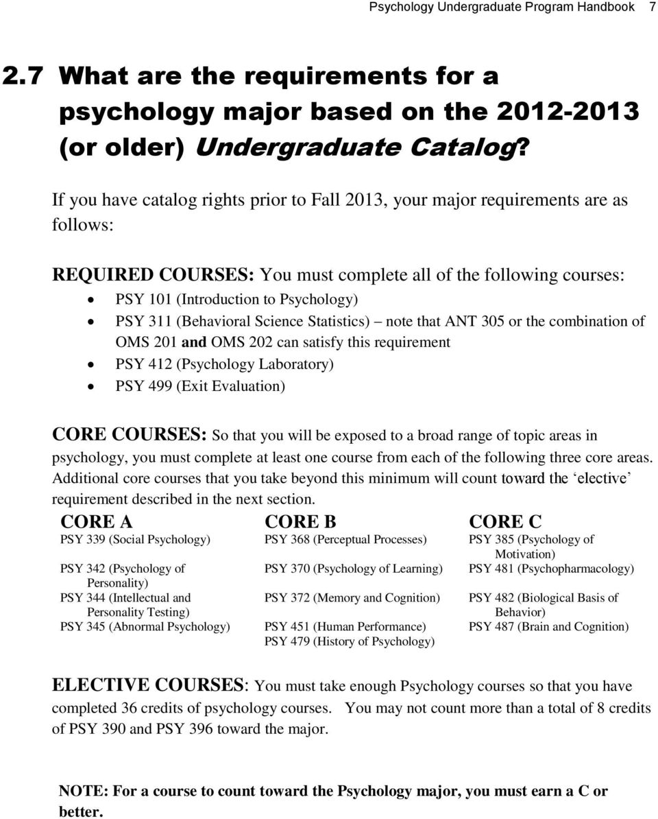 (Behavioral Science Statistics) note that ANT 305 or the combination of OMS 201 and OMS 202 can satisfy this requirement PSY 412 (Psychology Laboratory) PSY 499 (Exit Evaluation) CORE COURSES: So