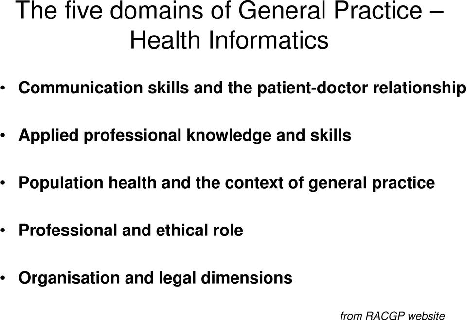 knowledge and skills Population health and the context of general