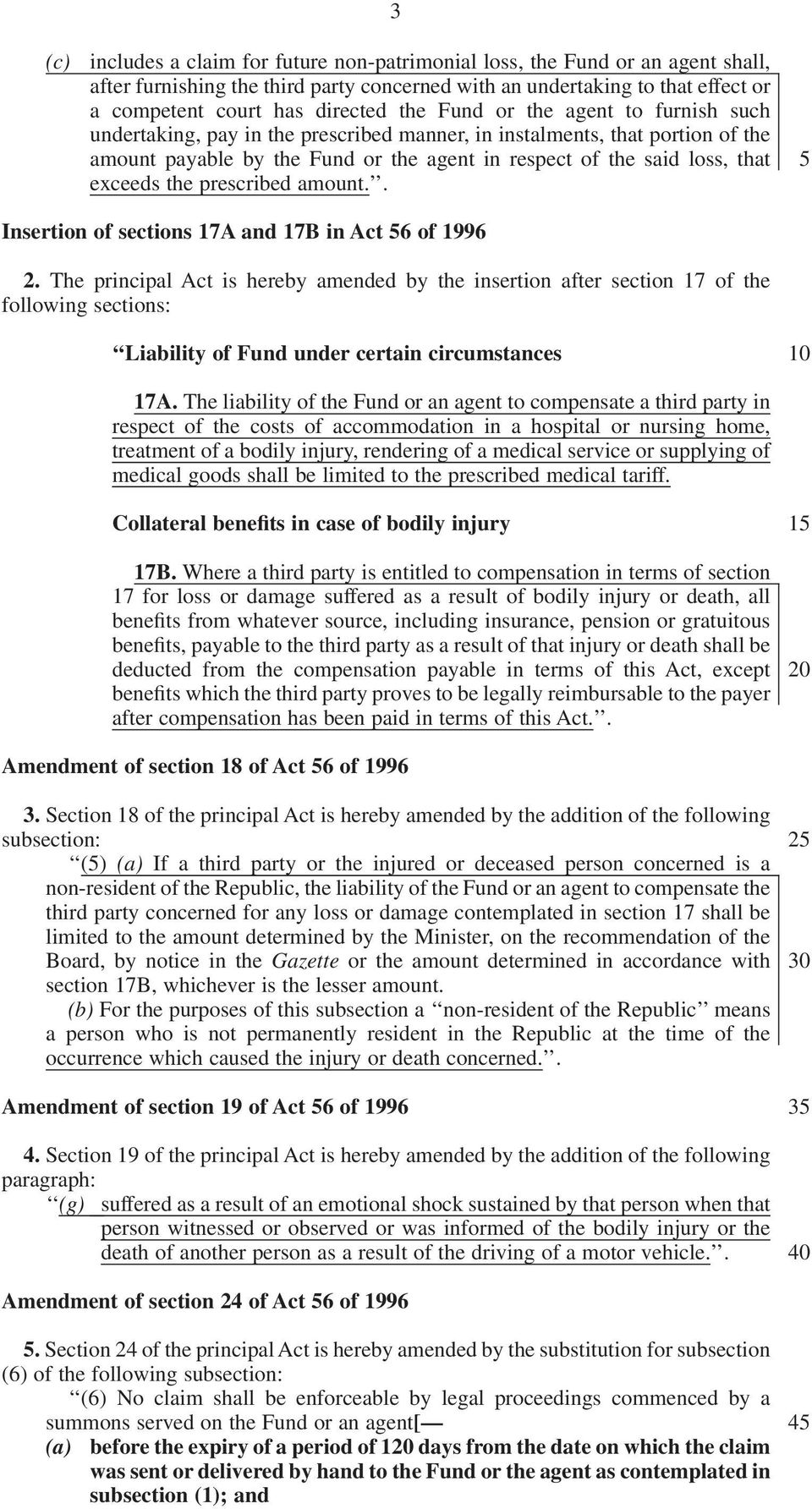 prescribed amount.. 5 Insertion of sections 17A and 17B in Act 56 of 1996 2.