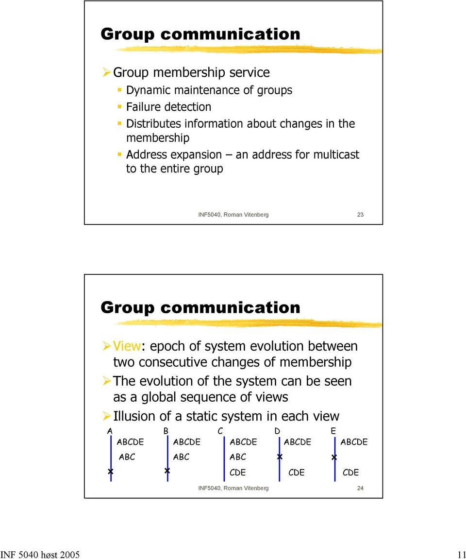 system evolution between two consecutive changes of membership The evolution of the system can be seen as a global sequence of views