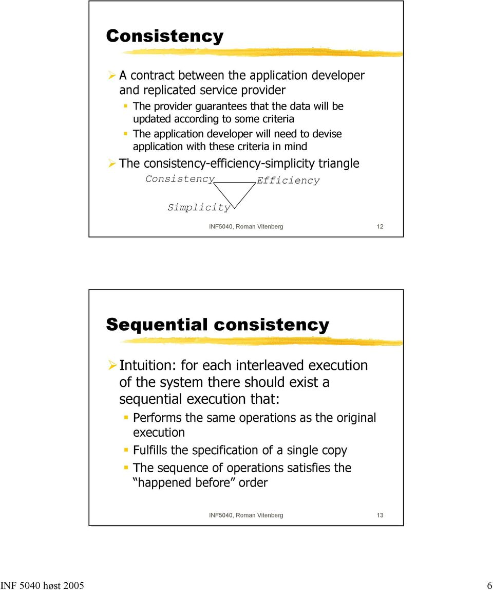 Roman Vitenberg 12 Sequential consistency Intuition: for each interleaved execution of the system there should exist a sequential execution that: Performs the same operations
