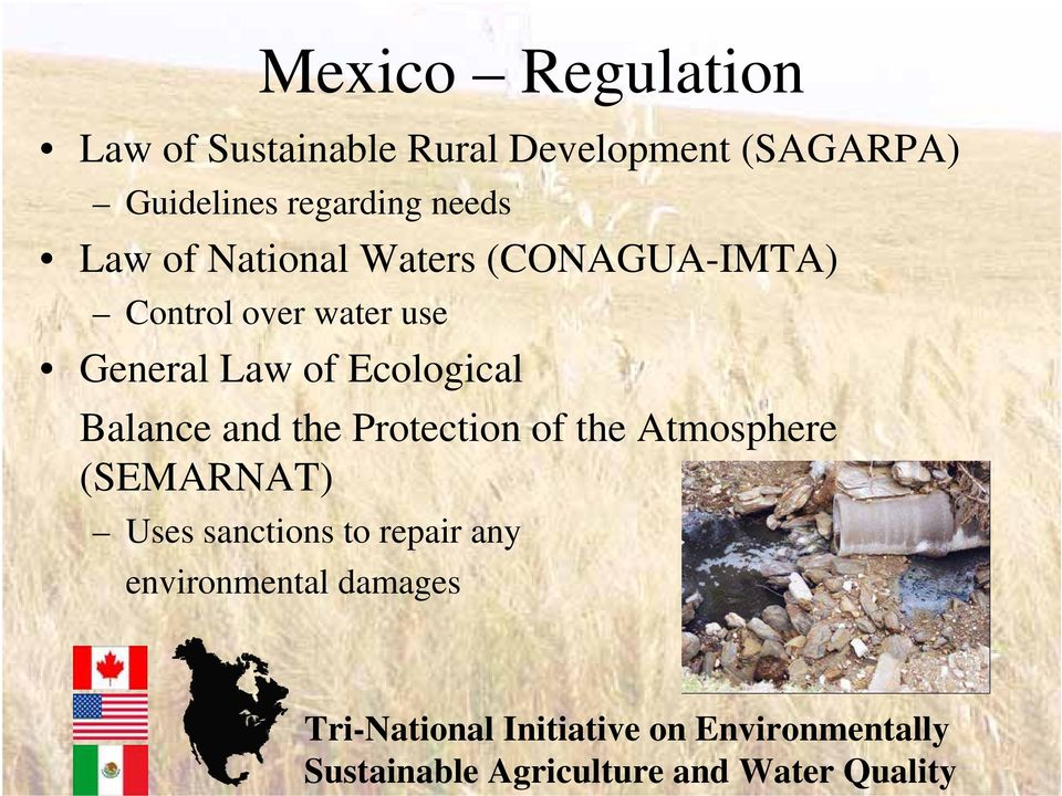 Control over water use General Law of Ecological Balance and the