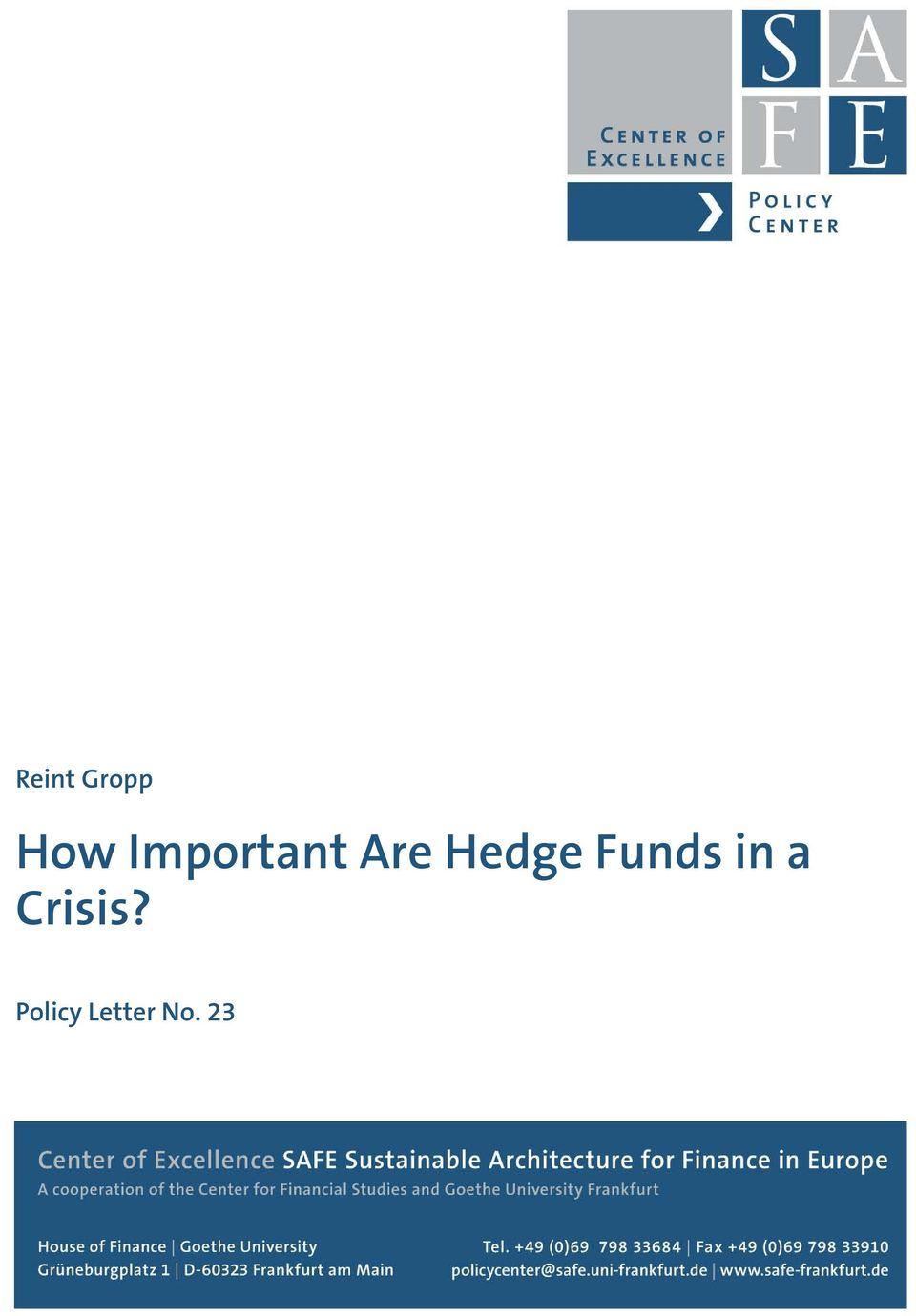 Hedge Funds in a