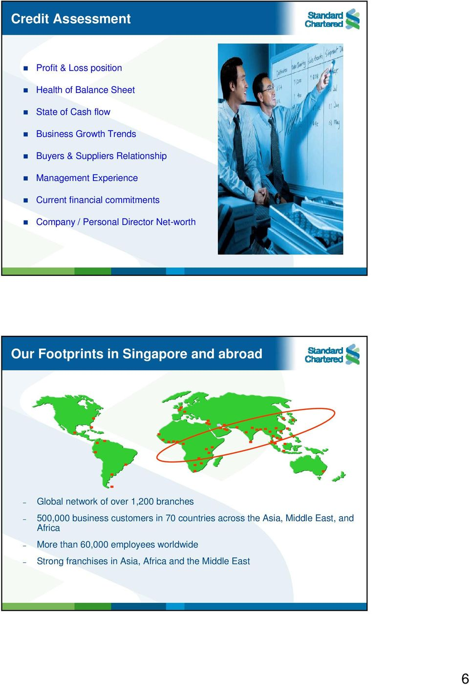 Footprints in Singapore and abroad Global network of over 1,200 branches 500,000 business customers in 70 countries