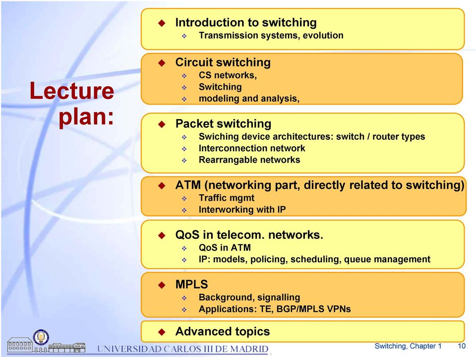 (networking part, directly related to switching) Traffic mgmt Interworking with IP QoS in telecom. networks.