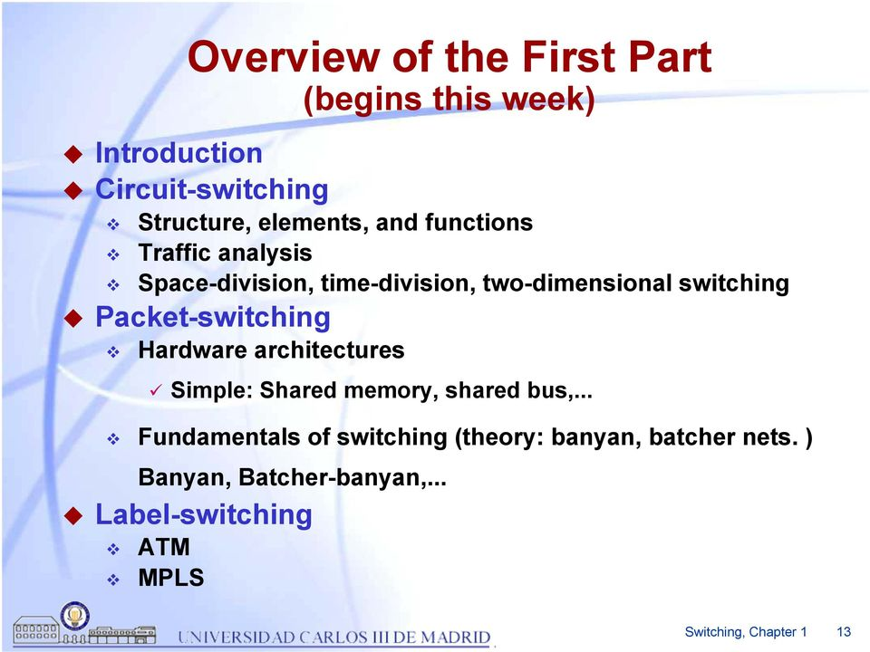 Packet-switching Hardware architectures Simple: Shared memory, shared bus,.