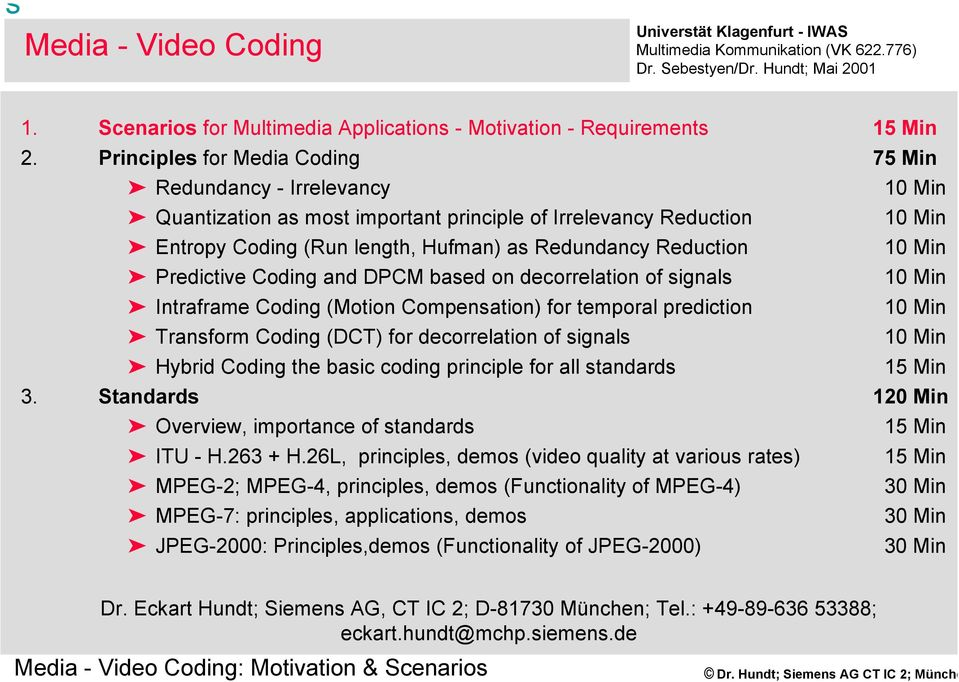 10 Min Predictive Coding and DPCM based on decorrelation of signals 10 Min Intraframe Coding (Motion Compensation) for temporal prediction 10 Min Transform Coding (DCT) for decorrelation of signals