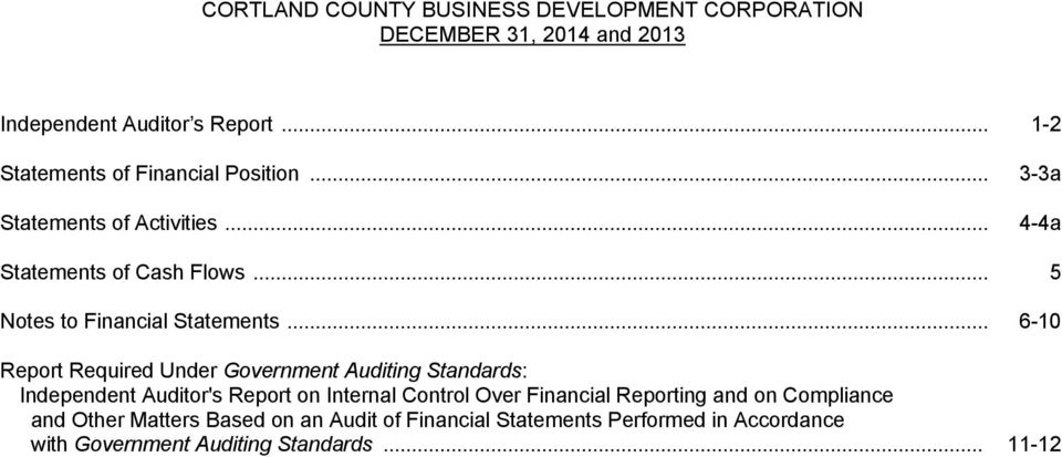 .. 6-10 Report Required Under Government Auditing Standards: Independent Auditor's Report on Internal Control Over