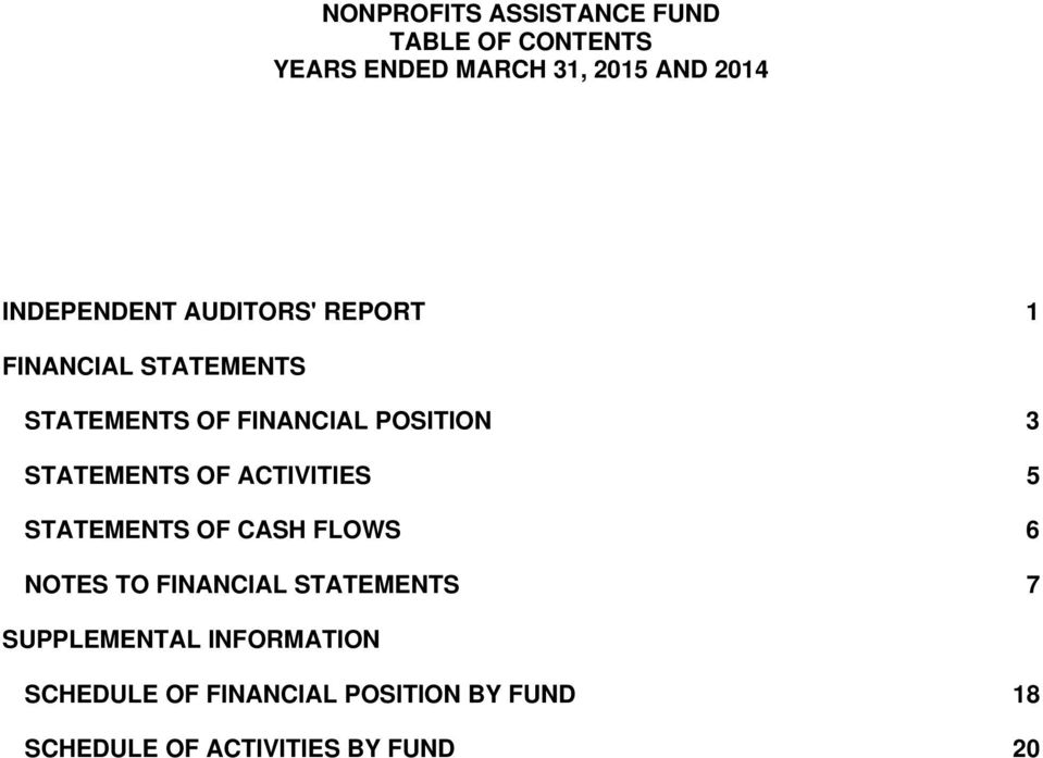 STATEMENTS OF CASH FLOWS 6 NOTES TO FINANCIAL STATEMENTS 7 SUPPLEMENTAL