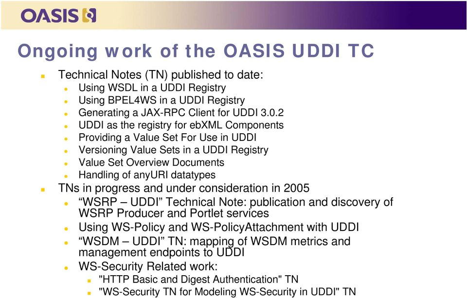 in progress and under consideration in 2005 WSRP UDDI Technical Note: publication and discovery of WSRP Producer and Portlet services Using WS-Policy and WS-PolicyAttachment with UDDI