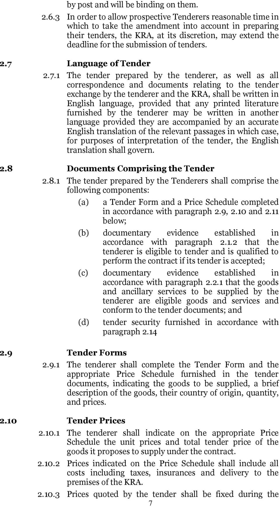 submission of tenders. 2.7