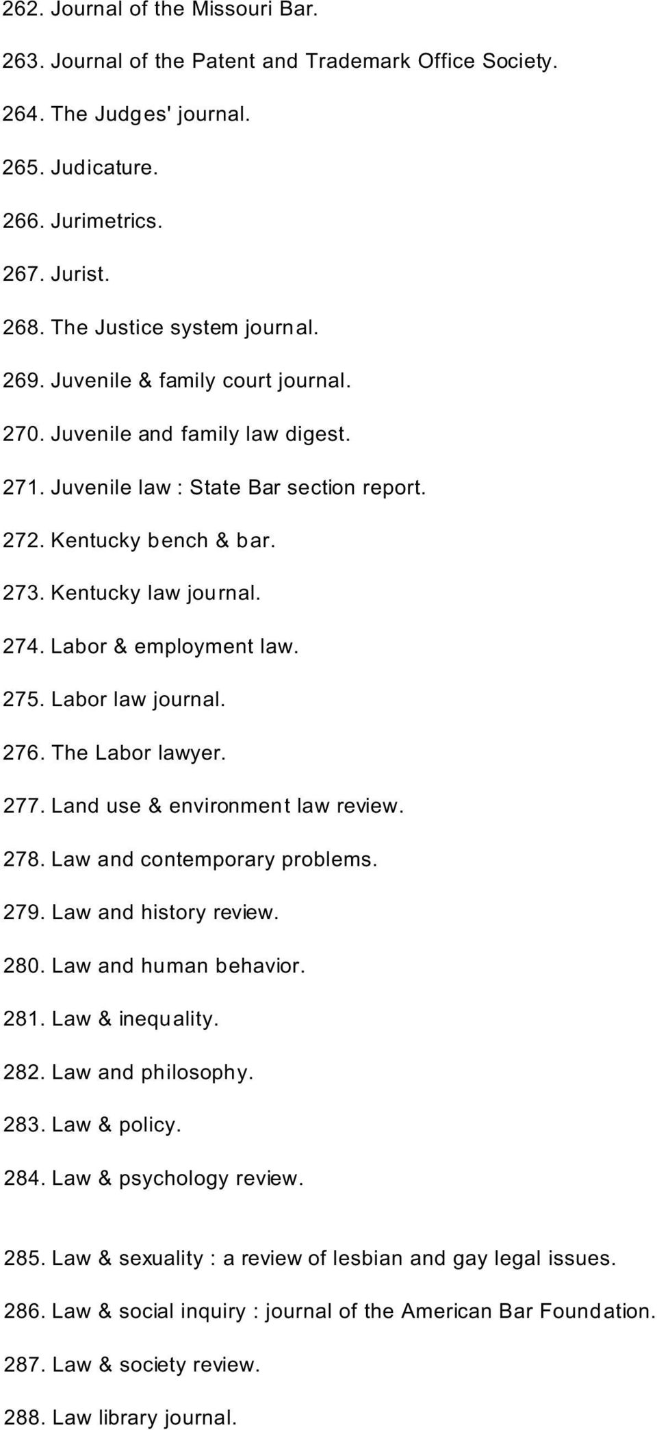 Labor & employment law. 275. Labor law journal. 276. The Labor lawyer. 277. Land use & environment law review. 278. Law and contemporary problems. 279. Law and history review. 280.