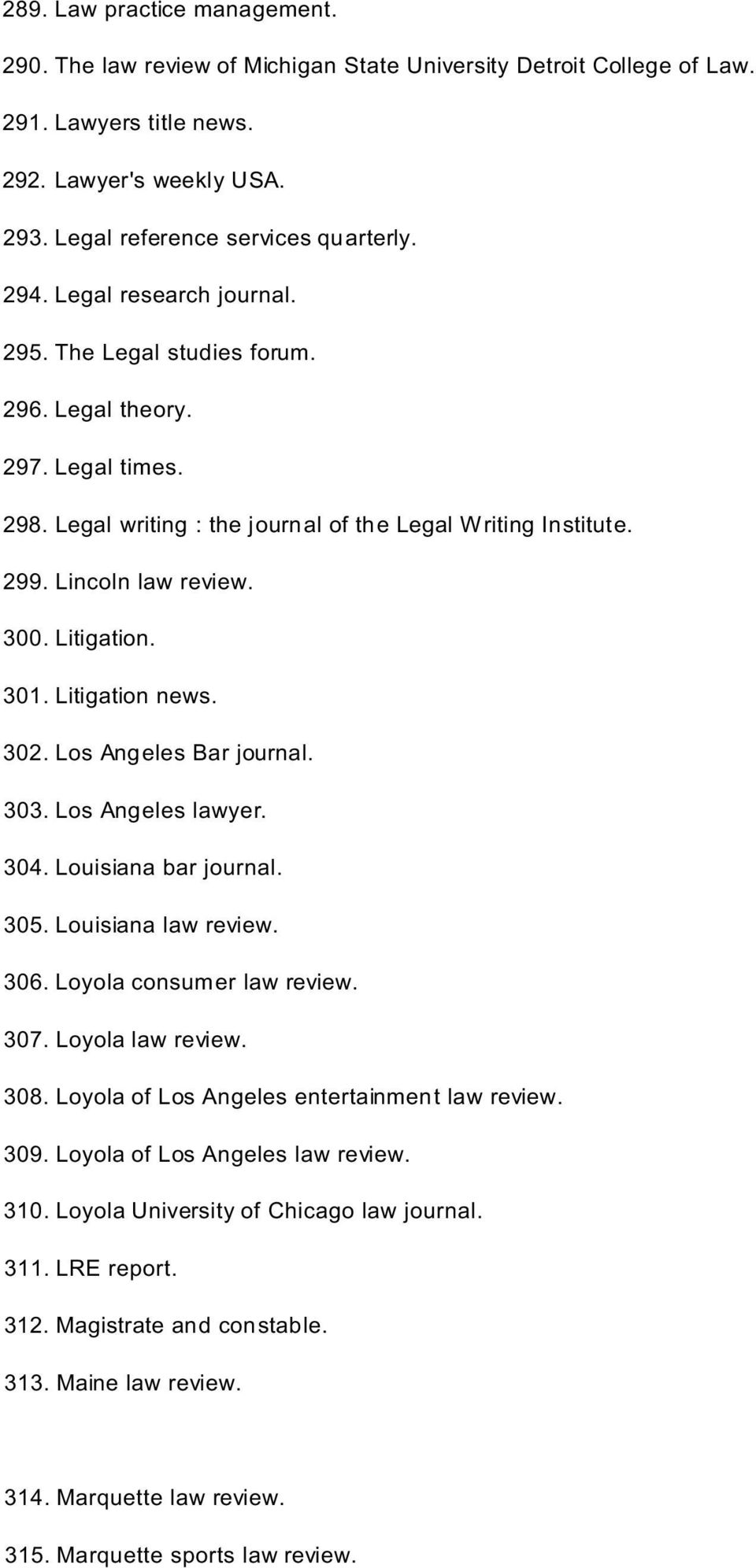 301. Litigation news. 302. Los Angeles Bar journal. 303. Los Angeles lawyer. 304. Louisiana bar journal. 305. Louisiana law review. 306. Loyola consumer law review. 307. Loyola law review. 308.