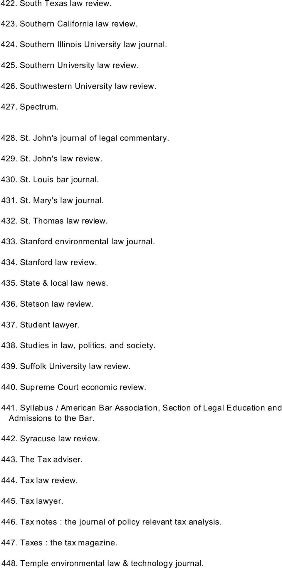 Stanford environmental law journal. 434. Stanford law review. 435. State & local law news. 436. Stetson law review. 437. Student lawyer. 438. Studies in law, politics, and society. 439.