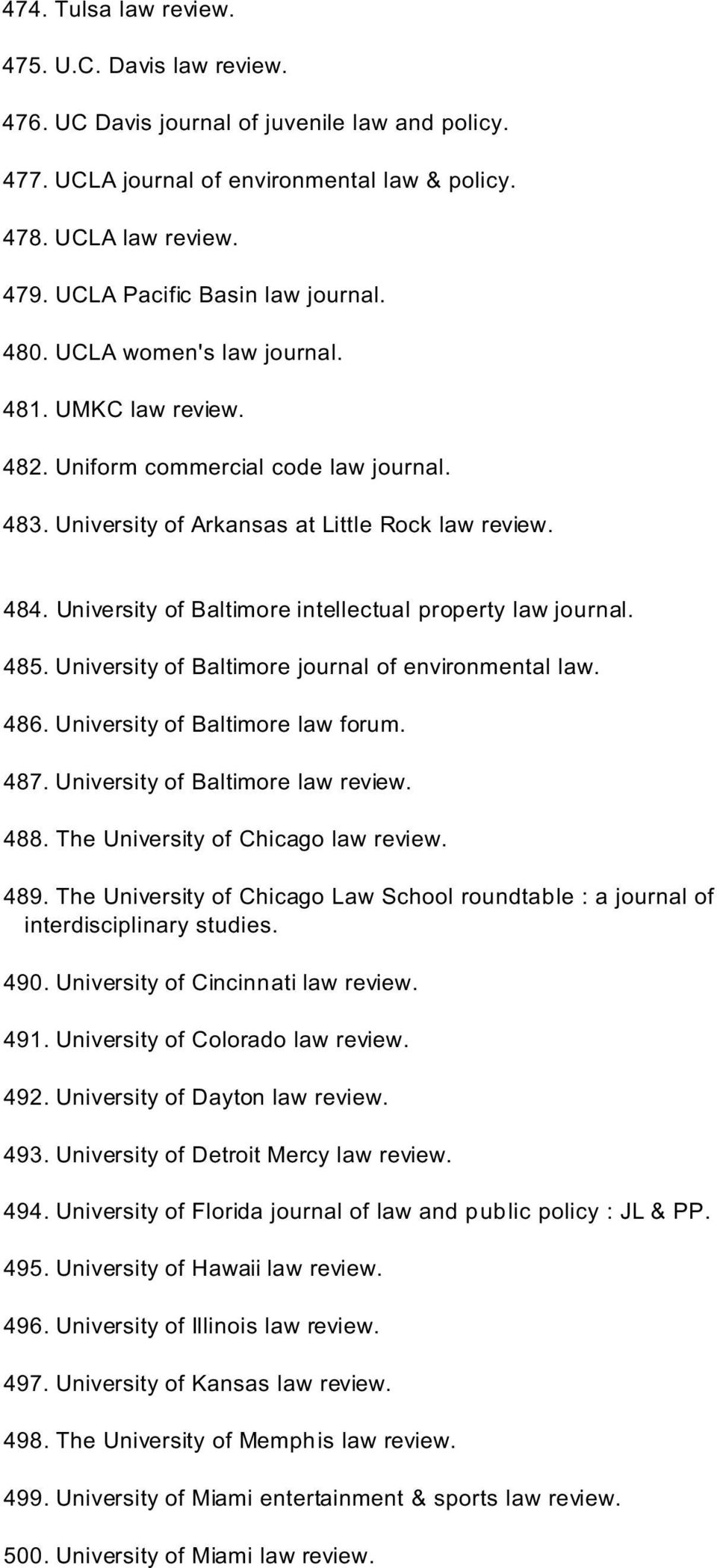University of Baltimore intellectual property law journal. 485. University of Baltimore journal of environmental law. 486. University of Baltimore law forum. 487. University of Baltimore law review.