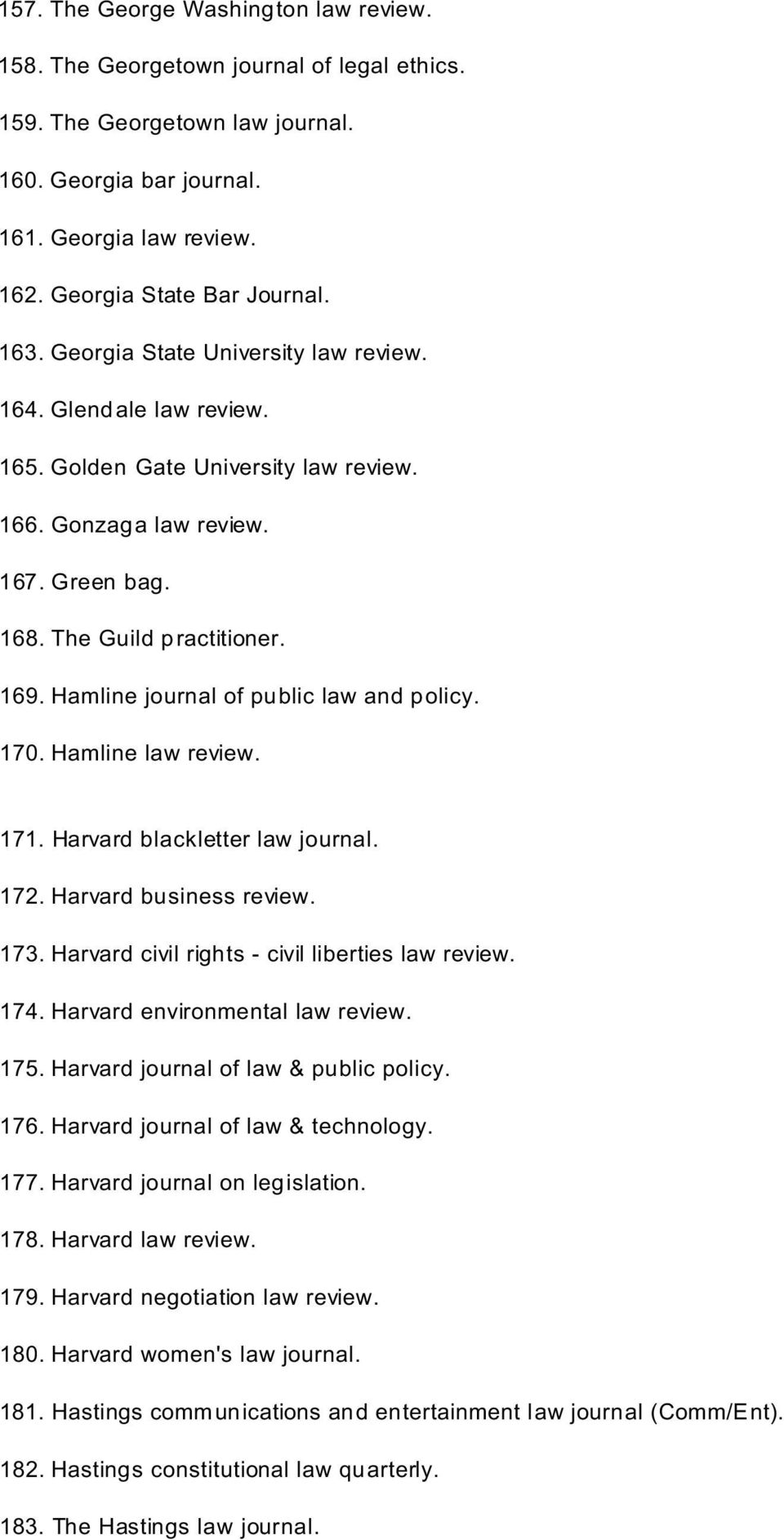 Hamline journal of public law and policy. 170. Hamline law review. 171. Harvard blackletter law journal. 172. Harvard business review. 173. Harvard civil rights - civil liberties law review. 174.