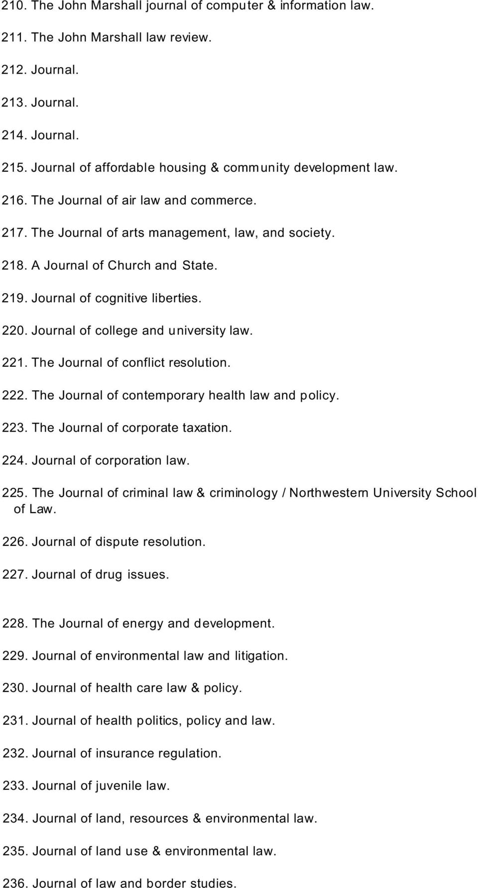 Journal of cognitive liberties. 220. Journal of college and university law. 221. The Journal of conflict resolution. 222. The Journal of contemporary health law and policy. 223.