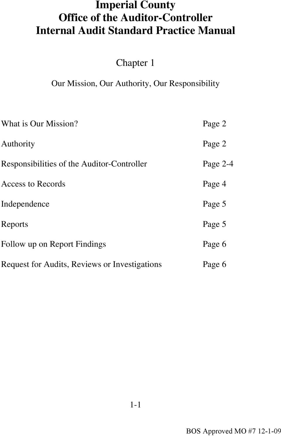 Page 2 Authority Page 2 Responsibilities of the Auditor-Controller Page 2-4 Access to